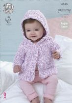 King Cole Yummy - 4535 Baby Jackets Knitting Pattern